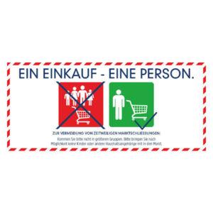 """Fussbodenaufkleber """"Ein Einkauf - Eine Person"""" - 1800x800"""